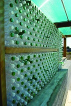 Plastic bottle wall - Bus station detail. Image by: Co-Plan