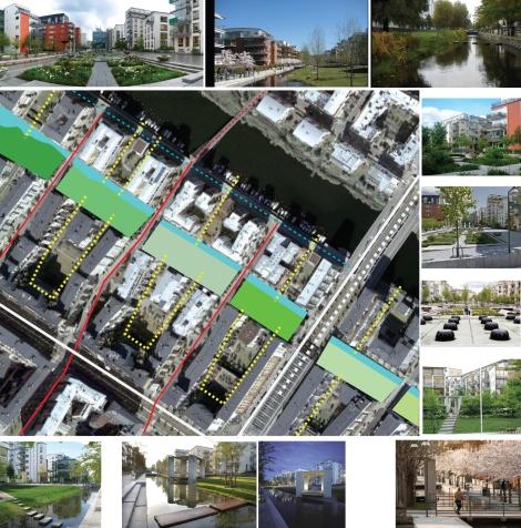 Evidenziazione dei diversi ambiti del canale di raccolta delle acque e delle permeabilità/ continuità delle corti che vi si aprono ( googlemap e sovrapposizione grafica)
