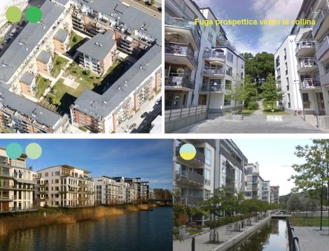 Evidenziazione delle differenti corti ed edifici a blocco