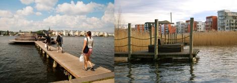 Vista dei percorsi e delle attrezzature del lungo lago (google map) Immagini delle passerelle sospese e delle attrezzature sul lago (in http://aquadental.se/kliniker/hammarby-sjostad/) Le