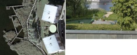 Le case a blocco lungo le sponde del lago e gli spazi circolari semiprivati ( in google map con evidenziazione grafica)