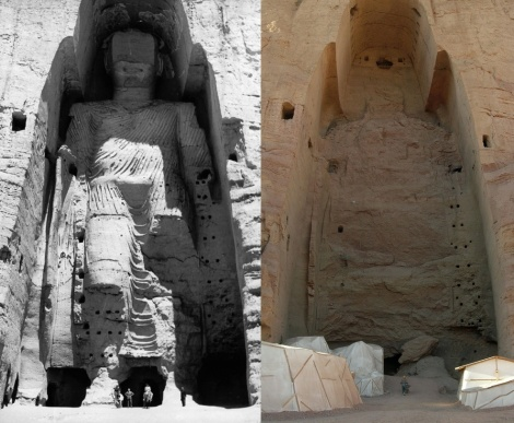Taller Buddha nel 1963 e nel 2008, dopo la distruzione, through ://en.wikipedia.org/wiki/Buddhas_of_Bamiyan