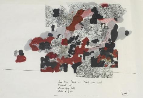 Barry le Va, Wash, 1968.  Inchiostro su carta millimetrata montato su carta © 2012 Barry Le Va