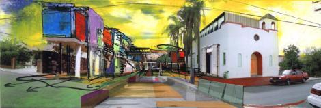 """Estudio Teddy Cruz, Casa Familiar, San Ysidro: """"Living rooms at the border"""". Elaborazione grafica del progetto su una foto dell'area, a destra l'edificio chiesastico e a sinistra l'infrastruttura di servizio: i telai multiuso dei soggiorni all'aperto, qui in uno scenario completo di alloggi (senior house ) e  cucine collettive  al piano superiore; mercato, workshop e laboratori artistici al livello terra; sullo sfondo le attrezzature per il gioco all'aperto, il teatro, giardini e orto.  ©immagine Estudio Teddy Cruz"""