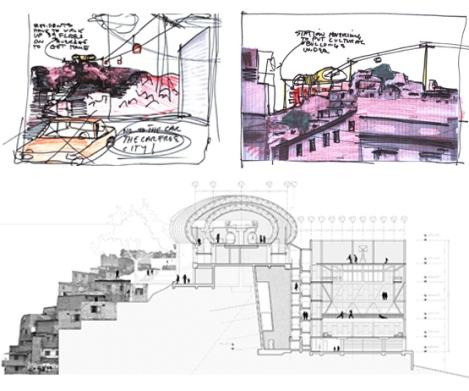 """Urban ThinkTank, bozzetti di progetto della stazione """"El Manguito"""", sezione della stazione """"La Ceiba"""" e la palestra verticale  ©immagini Urban ThinkTank"""