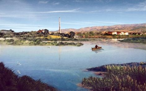 SalineJoniche: Vista dell'area della Liquichimica e del nuovo paesaggio d'acqua ©AutonomeForme