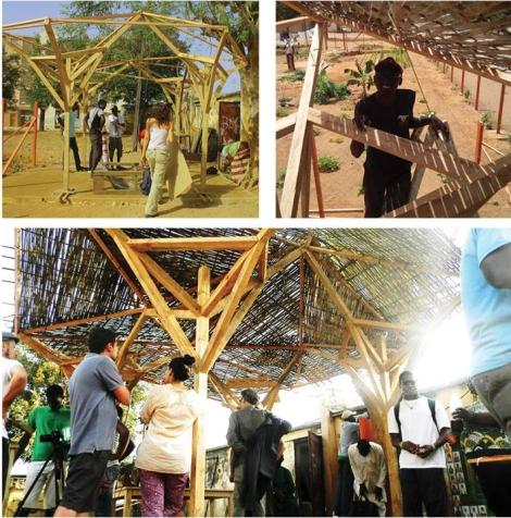 Work in progress dell' Open air lab - African Fabbers-Dakar Biennale (Senegal) realizzato con gli studenti del workshop, la comunità locale e Urban FabLab