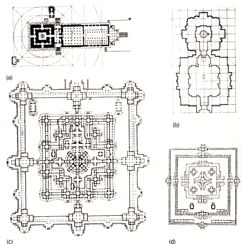 Esempi di planimetrie di templi basati sulla croce delle quattro direzioni. A. Il tempio di Brhadesvara a Tanjore, India Meridionale. B. Il tempio Brahmesvara a Bhubanesvar, India. C. Il Bayon, Angkor. D. Il tempio di Pre Rup, Angkor fonte: Snodgrass A., 2012 pag. 124