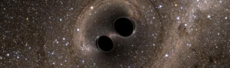 Rappresentazione artistica della coalescenza di due buchi neri, LIGO, fonte: http://www.media.inaf.it/2016/02/22/buchi-neri-oversize-ligo/
